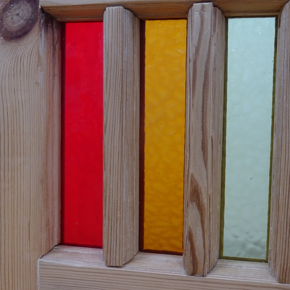 Wooden Rainbow Window with Glass Panels