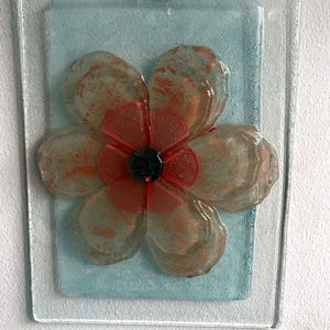 Glass Red Flower Decoration