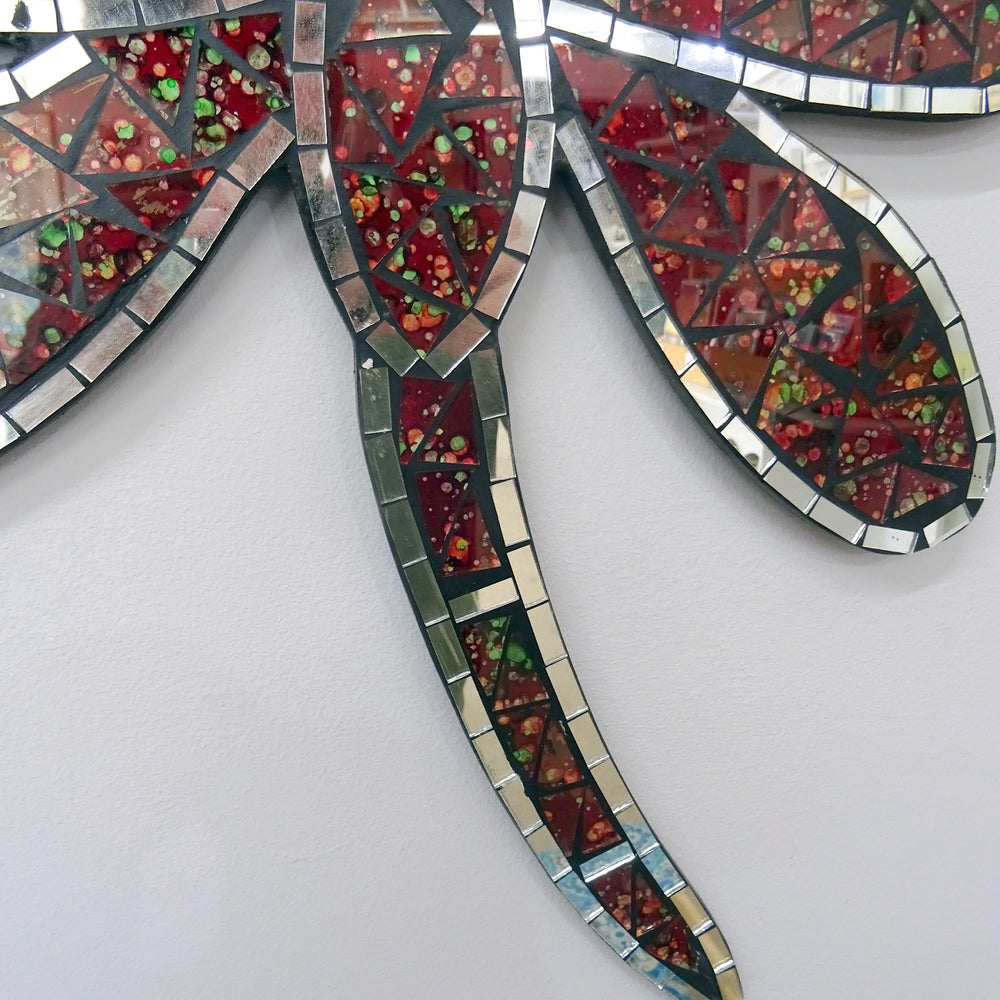 Red Mosaic Dragonfly Wall Hanging