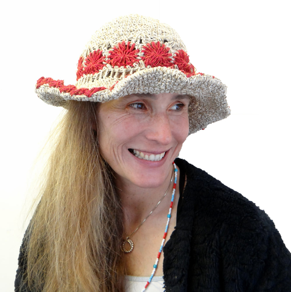 Load image into Gallery viewer, Red insert Hemp and Cotton Hat