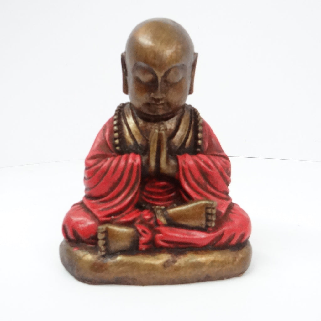 Red Resin Praying Buddha Ornament