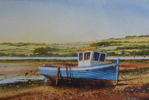 Blue Boat by the Teign