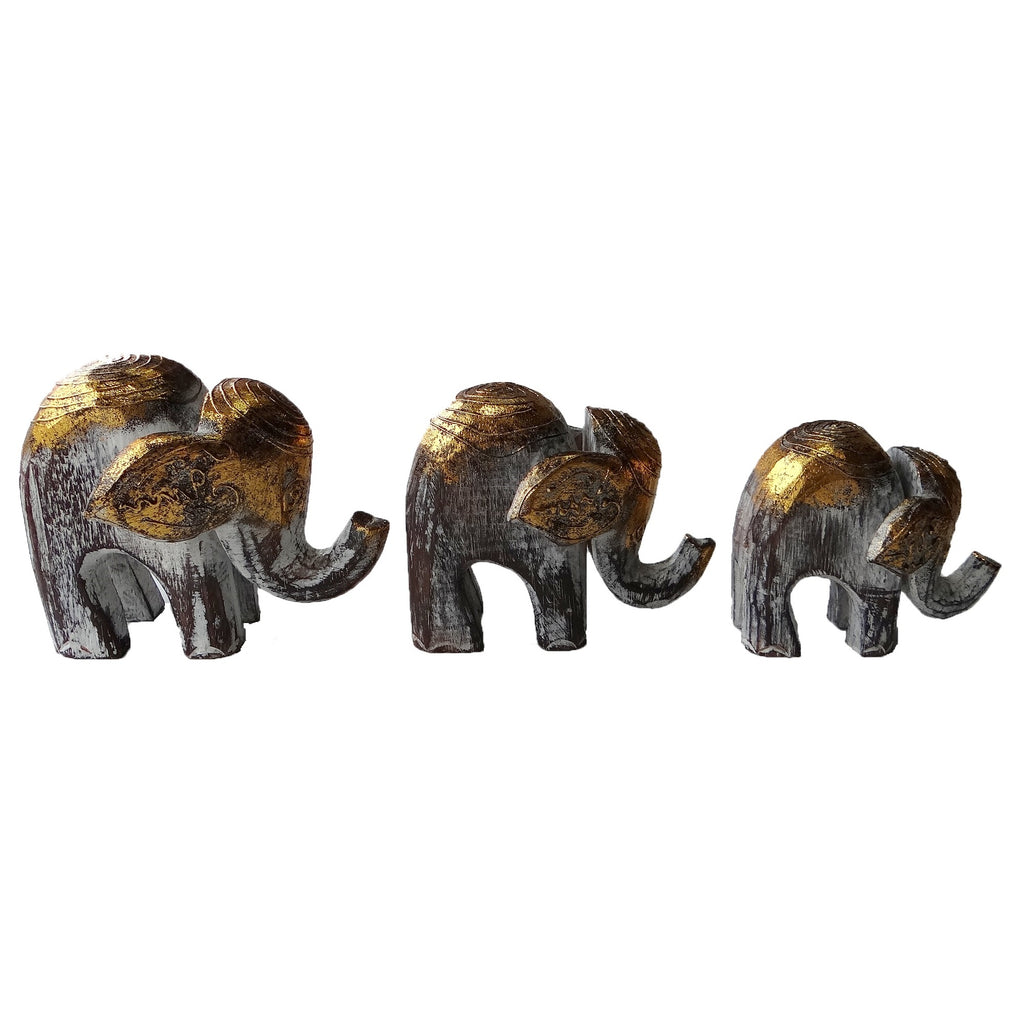 Set of 3 Gold Wooden Elephant Models