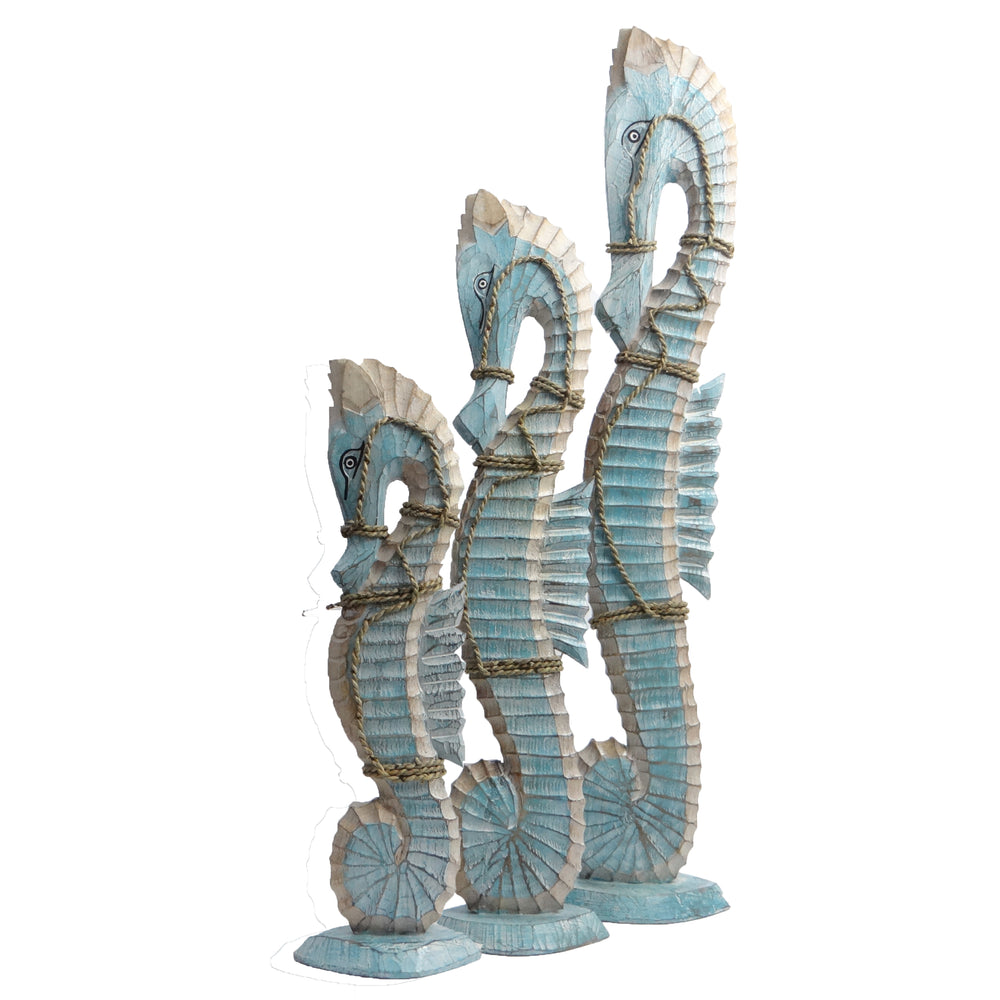 Set of 3 Wooden Seahorses