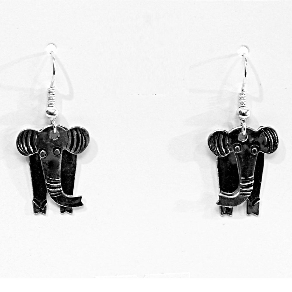 A pair of silver elephant earrings