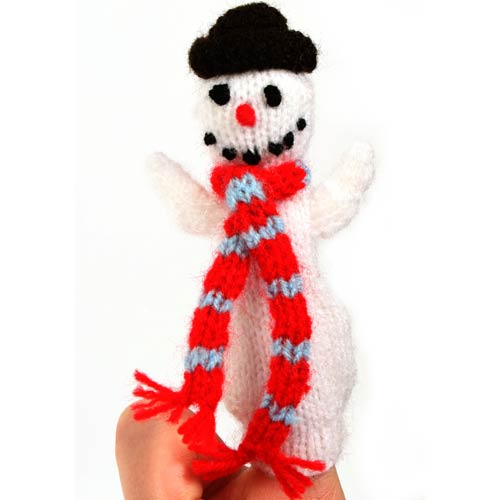 Load image into Gallery viewer, Snowman Cotton Finger Puppet