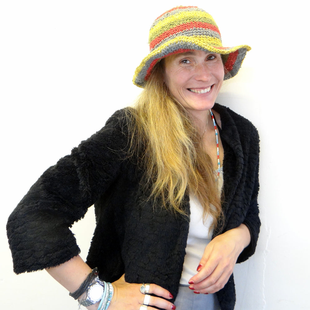 Soft Rainbow Hemp & Cotton Striped Hat