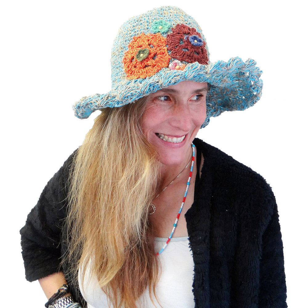 Turquoise Hemp Cotton Hat with Flowers