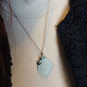 White Sea Glass Necklace with Anchor Charm