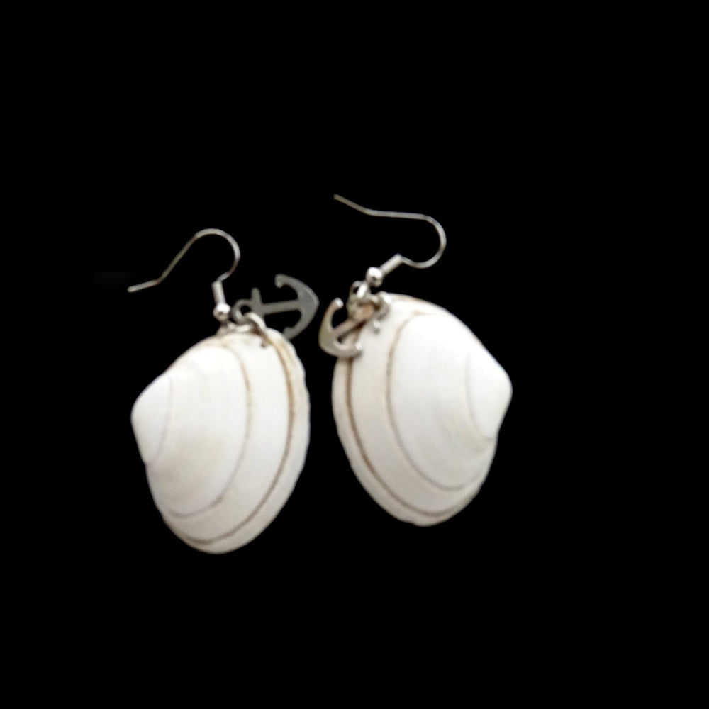 White Shell Earrings with Anchor Pendant