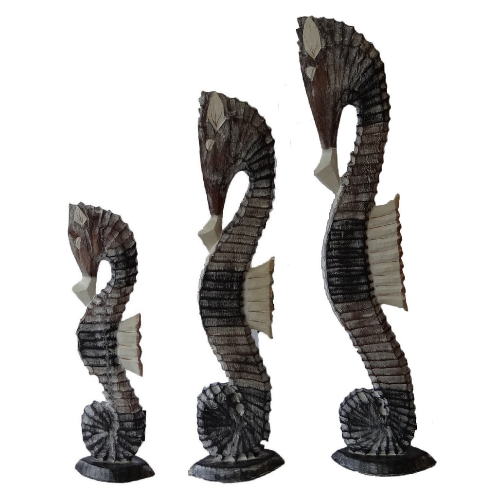 Set of 3 Wooden Seahorse Models