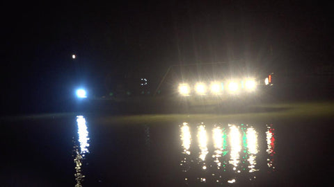 bowfishing at night, bowfishing boat with lights