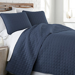navy blue circle embroidered detail and modern bedroom quilt set