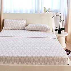 peach geometric print sheet modern bedroom set