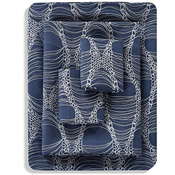 4 piece navy blue abstract pattern modern sheet set stack