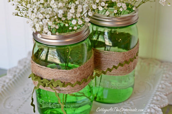 Spring Centerpiece with Green Ball Jars