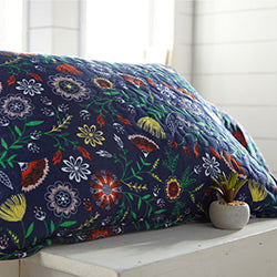 Blue Floral Print Quilted Pillow Sham and Plant