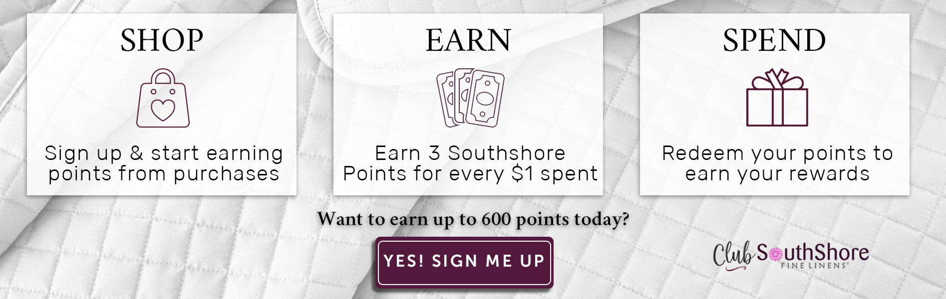 Sign up and start earning points from purchases with our rewards program. You'll earn 3 points for every 1 dollar spent. Sign up to start earning rewards and redeeming your points