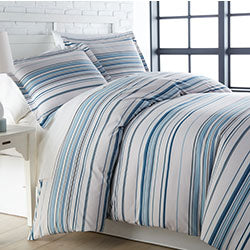 Blue coastal stripe duvet bedroom set