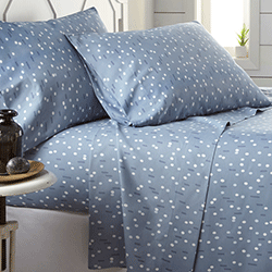 Blue confetti print sheet bedroom set