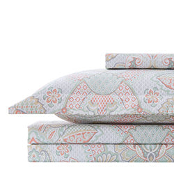 enchantment duvet cover stack in coral