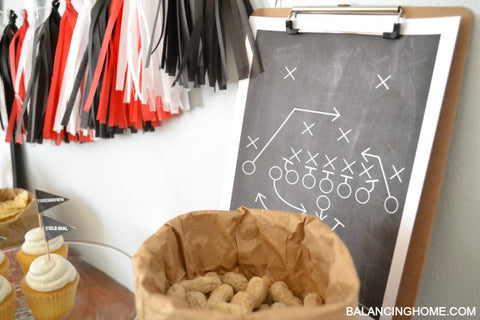 Football party decorations chal board game plan