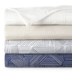 white, beige, and blue striped, geometric print modern sheet set stack