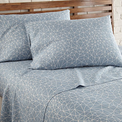 blue geometric maze sheet set