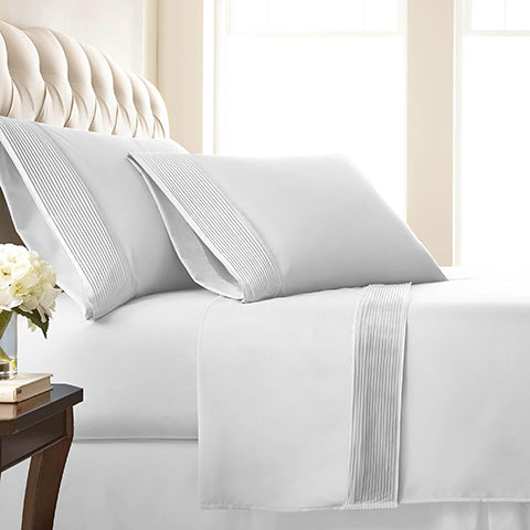 white pleated sheet set