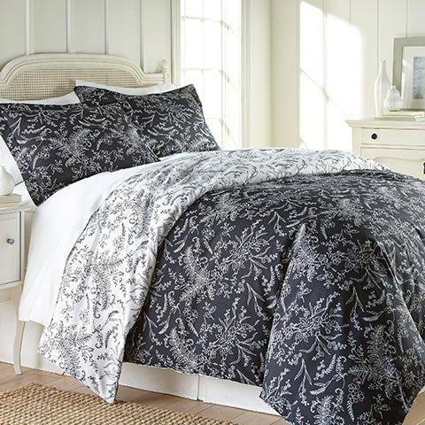 black and white floral print comforter