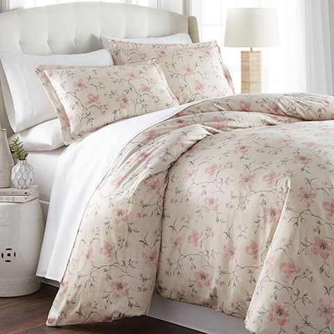 sand and pink floral print duvet set