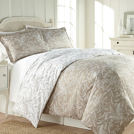 sand and white floral print comforter
