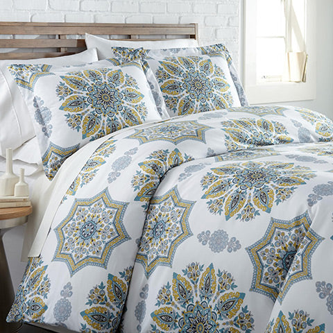 White and aqua medallion print comforter