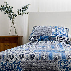 blue global patchwork quilt bedroom set