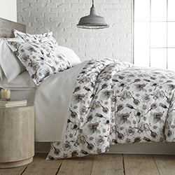grey floral print cotton duvet cover bedroom set