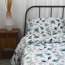 Closeup of blue floral print cotton duvet sham covers