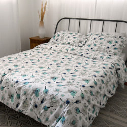 blue floral print cotton duvet cover set