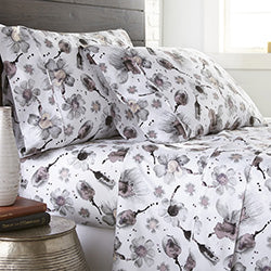 grey and white watercolor floral print cotton sheet set