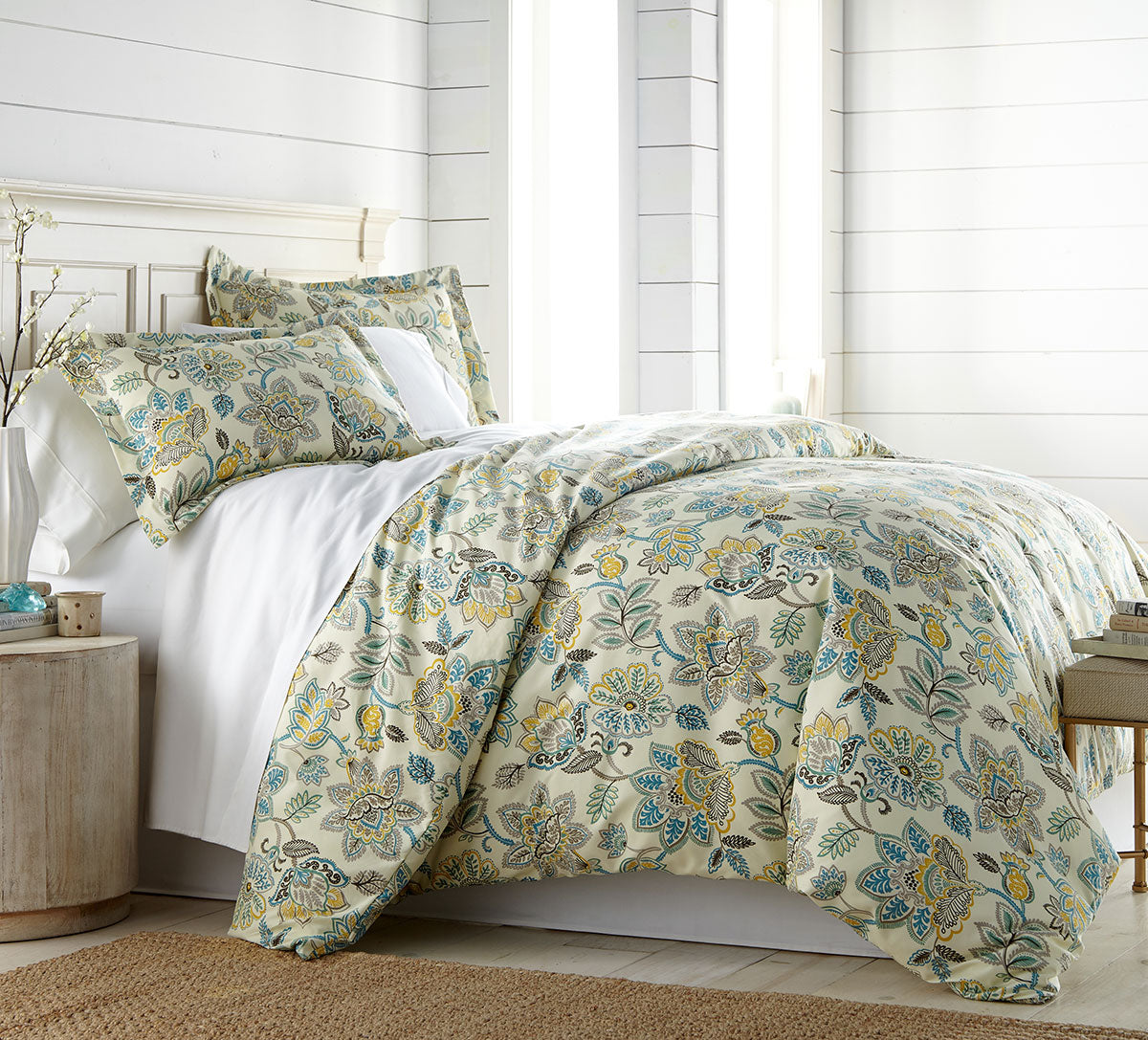 cream comforter with floral pattern