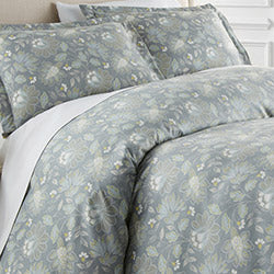 steel blue floral print reversible comforter set