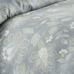 closeup of steel blue floral print pattern of microfiber duvet set