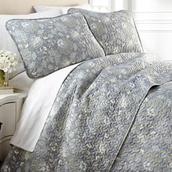 steel blue floral print quilt bedroom set