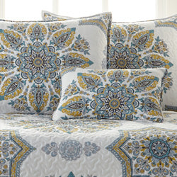 blue and yellow medallion print daybed set