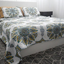 aqua medallion pattern of microfiber quilt