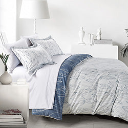 reversible white and blue leaf print comforter cover and modern bedroom set