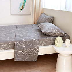 grey and white leaf print sheet and modern bedroom set