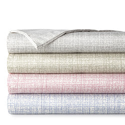 grey, gold, pink, and blue check print modern sheet set stack
