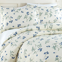 cream cotton floral print duvet cover set