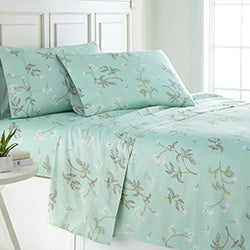 green floral print cotton sheet bedroom set
