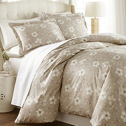 taupe grey cotton floral print duvet cover bedroom set